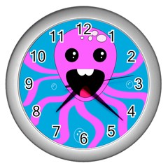 Bubble Octopus Copy Wall Clocks (silver)  by Jojostore