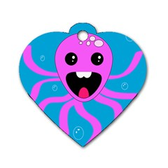 Bubble Octopus Copy Dog Tag Heart (two Sides) by Jojostore