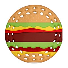 Cake Cute Burger Copy Ornament (Round Filigree)  by Jojostore