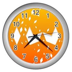 Cute Orange Copy Wall Clocks (silver)  by Jojostore