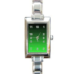 Neon Green And Black Halftone Copy Rectangle Italian Charm Watch by Jojostore