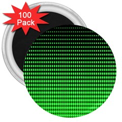 Neon Green And Black Halftone Copy 3  Magnets (100 Pack) by Jojostore