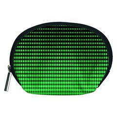 Neon Green And Black Halftone Copy Accessory Pouches (medium)  by Jojostore