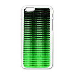 Neon Green And Black Halftone Copy Apple Iphone 6/6s White Enamel Case by Jojostore