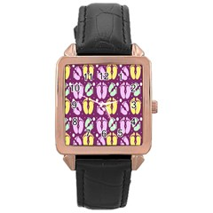 Soles Of The Feet Rose Gold Leather Watch  by Jojostore