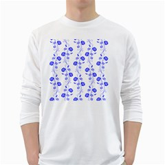 Vertical Floral White Long Sleeve T Shirts by Jojostore