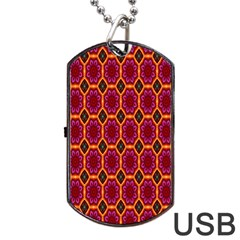 Pink Green Yellow Flower Dog Tag Usb Flash (two Sides)  by Jojostore