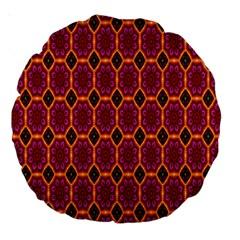 Pink Green Yellow Flower Large 18  Premium Round Cushions by Jojostore