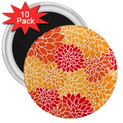 Vintage Floral Flower Red Orange Yellow 3  Magnets (10 Pack)  by Jojostore