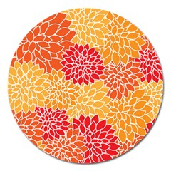 Vintage Floral Flower Red Orange Yellow Magnet 5  (round) by Jojostore