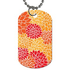 Vintage Floral Flower Red Orange Yellow Dog Tag (one Side) by Jojostore