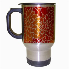 Vintage Floral Flower Red Orange Yellow Travel Mug (silver Gray) by Jojostore