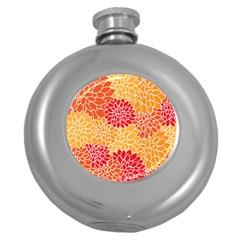 Vintage Floral Flower Red Orange Yellow Round Hip Flask (5 Oz) by Jojostore