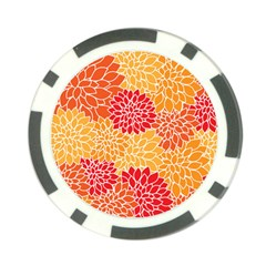 Vintage Floral Flower Red Orange Yellow Poker Chip Card Guards by Jojostore