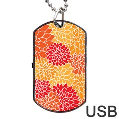 Vintage Floral Flower Red Orange Yellow Dog Tag Usb Flash (one Side) by Jojostore