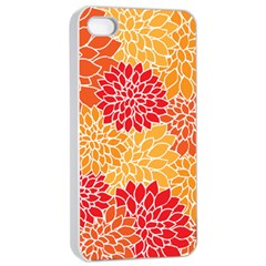 Vintage Floral Flower Red Orange Yellow Apple Iphone 4/4s Seamless Case (white) by Jojostore