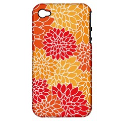 Vintage Floral Flower Red Orange Yellow Apple Iphone 4/4s Hardshell Case (pc+silicone) by Jojostore