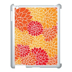 Vintage Floral Flower Red Orange Yellow Apple Ipad 3/4 Case (white) by Jojostore