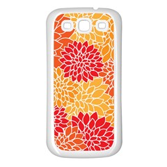 Vintage Floral Flower Red Orange Yellow Samsung Galaxy S3 Back Case (white) by Jojostore