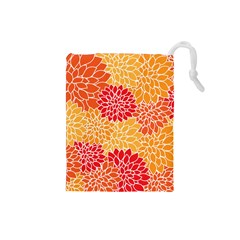 Vintage Floral Flower Red Orange Yellow Drawstring Pouches (small)  by Jojostore