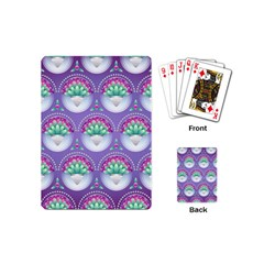 Background Floral Pattern Purple Playing Cards (mini)  by Amaryn4rt