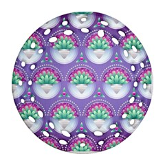 Background Floral Pattern Purple Ornament (round Filigree)  by Amaryn4rt