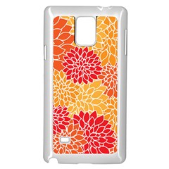 Vintage Floral Flower Red Orange Yellow Samsung Galaxy Note 4 Case (white) by Jojostore