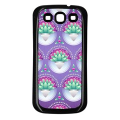 Background Floral Pattern Purple Samsung Galaxy S3 Back Case (black) by Amaryn4rt