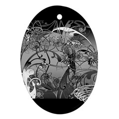 Kringel Circle Flowers Butterfly Oval Ornament (two Sides)
