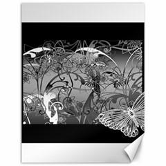 Kringel Circle Flowers Butterfly Canvas 12  X 16