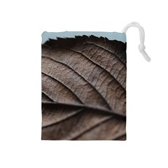 Leaf Veins Nerves Macro Closeup Drawstring Pouches (medium)  by Amaryn4rt