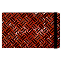 Woven2 Black Marble & Red Marble (r) Apple Ipad 3/4 Flip Case by trendistuff