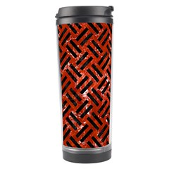 Woven2 Black Marble & Red Marble (r) Travel Tumbler