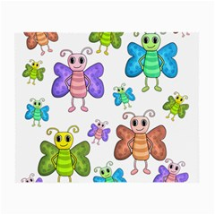 Colorful, Cartoon Style Butterflies Small Glasses Cloth (2 Side) by Valentinaart