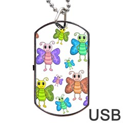 Colorful, Cartoon Style Butterflies Dog Tag Usb Flash (one Side) by Valentinaart