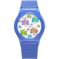 Colorful, Cartoon Style Butterflies Round Plastic Sport Watch (s) by Valentinaart