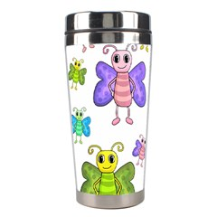Colorful, Cartoon Style Butterflies Stainless Steel Travel Tumblers by Valentinaart