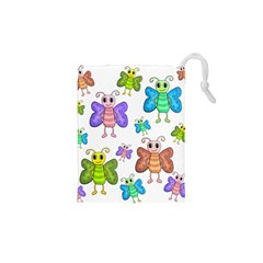 Colorful, Cartoon Style Butterflies Drawstring Pouches (xs)  by Valentinaart