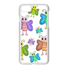 Colorful, Cartoon Style Butterflies Apple Iphone 7 Seamless Case (white)