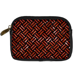 Woven2 Black Marble & Red Marble Digital Camera Leather Case by trendistuff