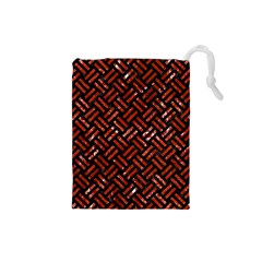 Woven2 Black Marble & Red Marble Drawstring Pouch (small)