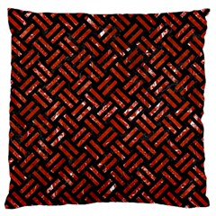 Woven2 Black Marble & Red Marble Standard Flano Cushion Case (one Side) by trendistuff