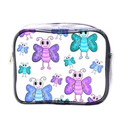 Cute Butterflies Pattern Mini Toiletries Bags by Valentinaart