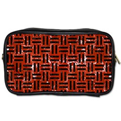 Woven1 Black Marble & Red Marble (r) Toiletries Bag (one Side) by trendistuff