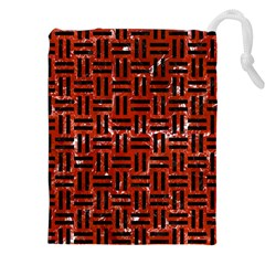 Woven1 Black Marble & Red Marble (r) Drawstring Pouch (xxl) by trendistuff