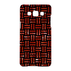 Woven1 Black Marble & Red Marble Samsung Galaxy A5 Hardshell Case  by trendistuff