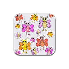 Cute Butterflies Pattern Rubber Square Coaster (4 Pack)  by Valentinaart