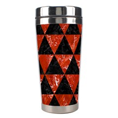 Triangle3 Black Marble & Red Marble Stainless Steel Travel Tumbler by trendistuff