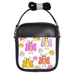Cute Butterflies Pattern Girls Sling Bags by Valentinaart