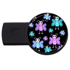 Blue And Purple Butterflies Usb Flash Drive Round (4 Gb)  by Valentinaart